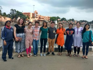 Rachel Dinh, right, in India with other American NSLI-Y participants.