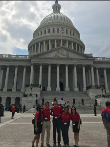 Aimee, right, and other BofA program participants at the Capitol.