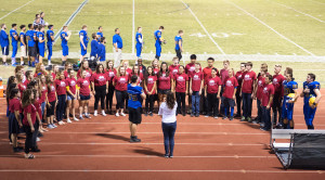 Cantamus performed the national Anthem before the Homecoming game.