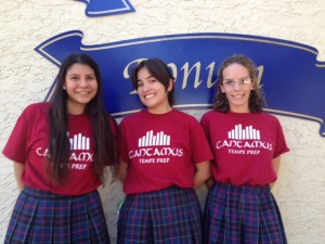 From left, Jovanna Gonzalez, Francesca Lilly and Emma Moriarty.